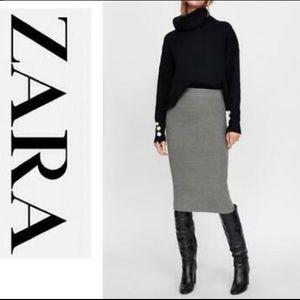 Zara wool Tweed high waist skirt